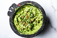 "It takes a while for the avocado to absorb all the flavors you add to it. So if you ever find yourself wondering if your guac is spicy (or salty, or lime-y) enough, wait a few minutes before you add more so that you don't accidentally overseason it. This is part of <a href=""http://www.bonappetit.com/best?mbid=synd_yahoo_rss"" rel=""nofollow noopener"" target=""_blank"" data-ylk=""slk:BA's Best"" class=""link rapid-noclick-resp"">BA's Best</a>, a collection of our essential recipes. <a href=""https://www.bonappetit.com/recipe/bas-best-guacamole?mbid=synd_yahoo_rss"" rel=""nofollow noopener"" target=""_blank"" data-ylk=""slk:See recipe."" class=""link rapid-noclick-resp"">See recipe.</a>"