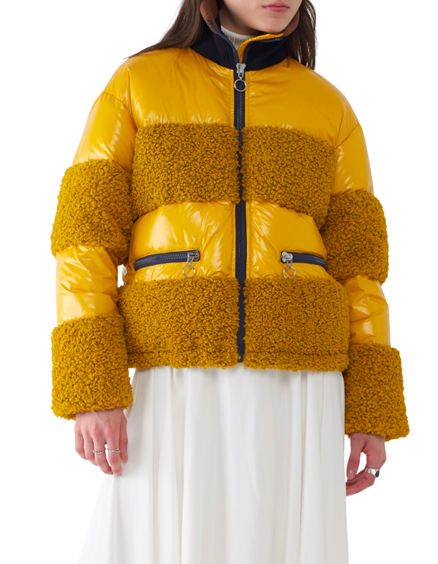 """A mustard moment, we love to see it. But this hybrid teddy-puffer also comes in black if you'd rather stick to basics. $598, Verishop. <a href=""""https://shop.nordstrom.com/s/sosken-june-glossy-short-down-jacket/5338593/full"""" rel=""""nofollow noopener"""" target=""""_blank"""" data-ylk=""""slk:Get it now!"""" class=""""link rapid-noclick-resp"""">Get it now!</a>"""