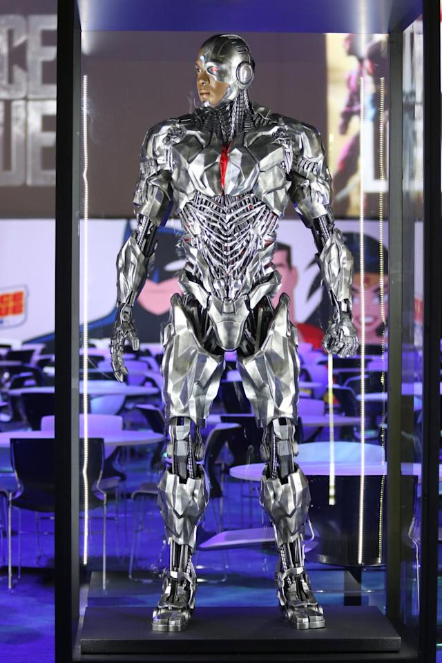 <p>Ray Fisher plays the young hero who is more machine than man in a suit that seems to take cues from the Terminator and C-3PO. (Credit: Warner Bros.) </p>