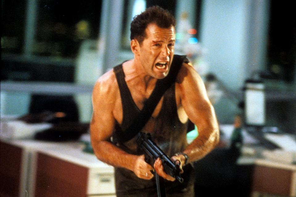 Bruce Willis in a scene from the film 'Die Hard', 1988. (Photo by 20th Century-Fox/Getty Images)
