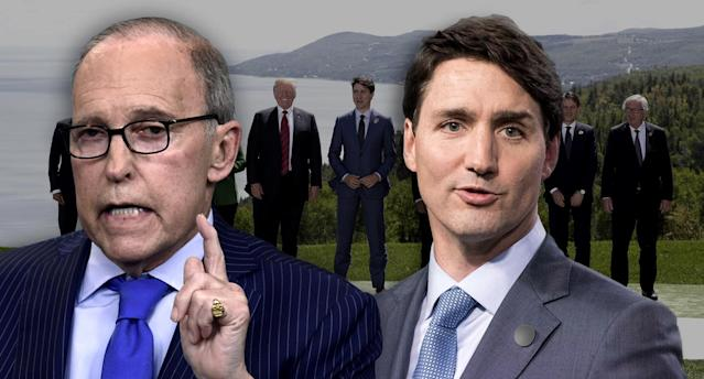 White House economic adviser Larry Kudlow and Canadian Prime Minister Justin Trudeau. (Photo illustration: Yahoo News; photos: Susan Walsh/AP, Lars Hagberg/AFP/Getty Images, Yves Herman/Reuters)