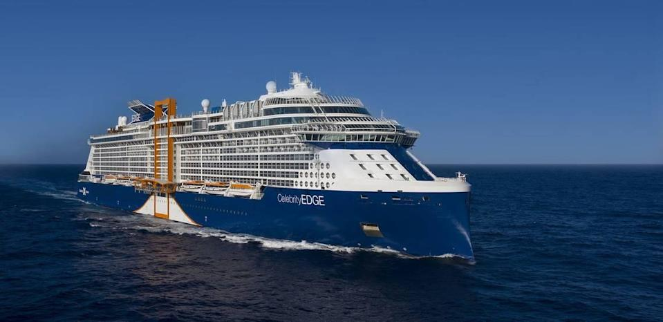 Celebrity's new ship, Celebrity Edge, features a distinctive bow and an orange steel hydraulic hoist, for lifting and lowering the Magic Carpet.