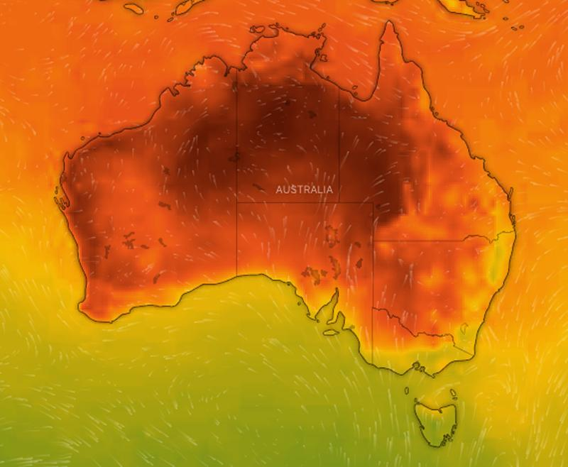 A weather map of Australia showing temperature with rainfall expected on Thursday.