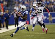 Indianapolis Colts wide receiver T.Y. Hilton, left, makes a catch in front of Seattle Seahawks cornerback Richard Sherman on his way to the end zone for a touchdown during the first half of an NFL football game in Indianapolis, Sunday, Oct. 6, 2013. (AP Photo/AJ Mast)