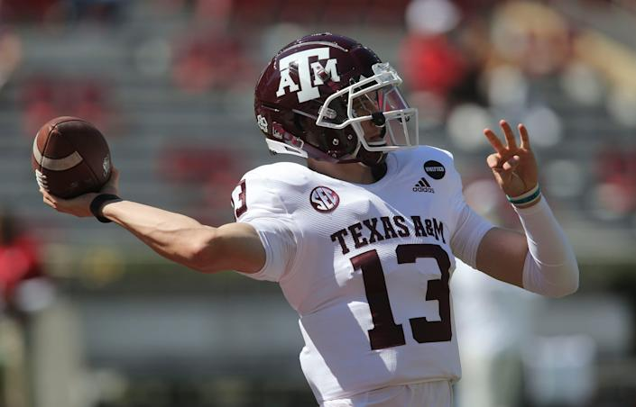 Texas A&M quarterback Haynes King warms up before his team's game with Alabama in 2020 at Bryant-Denny Stadium.