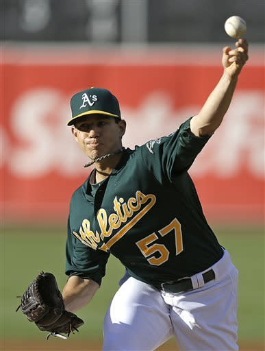 Oakland Athletics' Tommy Milone works against the Kansas City Royals in the first inning of a baseball game Saturday, May 18, 2013, in Oakland, Calif. (AP Photo/Ben Margot)