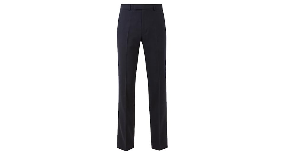Navy Regular Fit Wool Blend Trousers