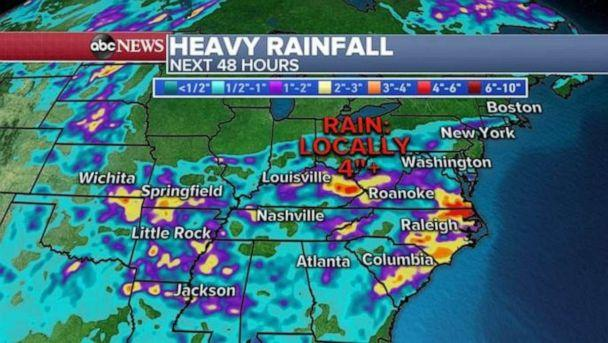 PHOTO: Heavy rain is expected across much of the Midwest and South today with inches of rainfall in some areas. (ABC News)