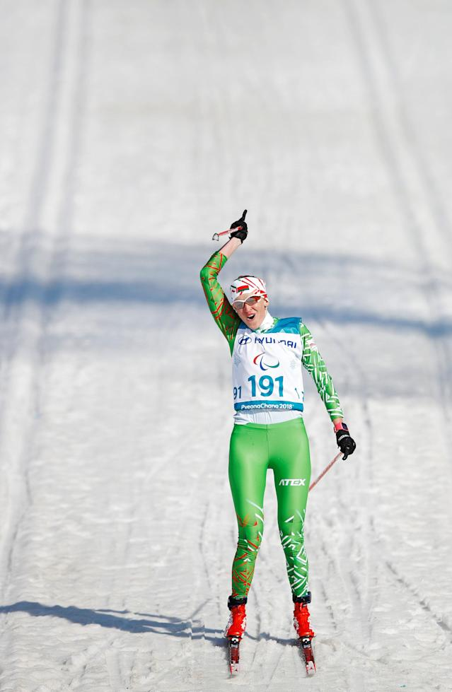 Cross-Country Skiing - Pyeongchang 2018 Winter Paralympics - Women's 1.5km Sprint Classic - Visually Impaired - Final - Alpensia Biathlon Centre - Pyeongchang, South Korea - March 14, 2018 - Sviatlana Sakhanenka of Belarus celebrates winning the gold. REUTERS/Carl Recine