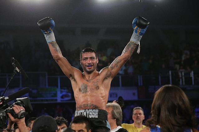 Lucas Matthysse celebrates after his win against Ruslan Provodnikov, at the Turning Stone Resort Casino in Verona, New York, in April 2015 (AFP Photo/Alex Menendez)