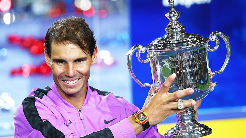 Pictured here, Spaniard Rafael Nadal with the 2019 US Open trophy.