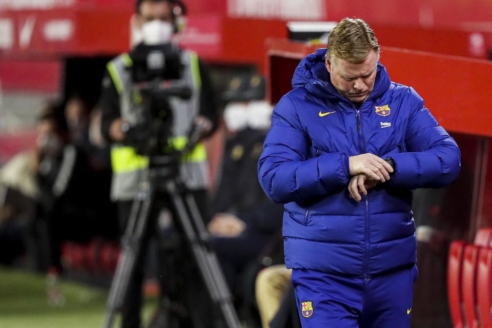 SEVILLA, SPAIN - FEBRUARY 10: coach Ronald Koeman of FC Barcelona during the Spanish Copa del Rey  match between Sevilla v FC Barcelona at the Estadio Ramon Sanchez Pizjuan on February 10, 2021 in Sevilla Spain (Photo by David S. Bustamante/Soccrates/Getty Images)