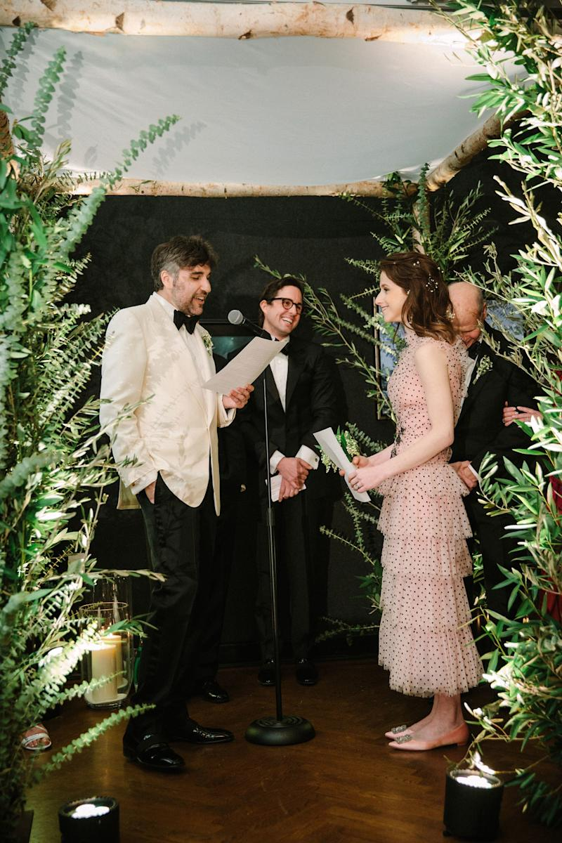 We're both writers, so naturally, we both wrote our own vows. And, being writers, we also do our best work on deadline, which is why we wrote them the day before! Mike's vows were romantic and playful and hilarious, and completely free of cliché or self-seriousness—just like Mike.
