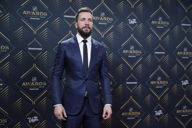 Tampa Bay Lightning's Nikita Kucherov poses on the red carpet before the NHL Awards, Wednesday, June 19, 2019, in Las Vegas. (AP Photo/John Locher)