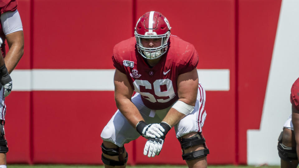 Alabama offensive lineman Landon Dickerson has tremendous upside, but his injuries are concerning. (AP Photo/Vasha Hunt)