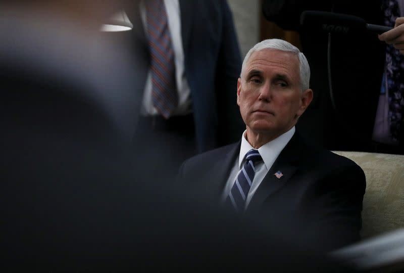 U.S. Vice President Mike Pence attends Trump-Bel Edwards coronavirus response meeting at the White House in Washington