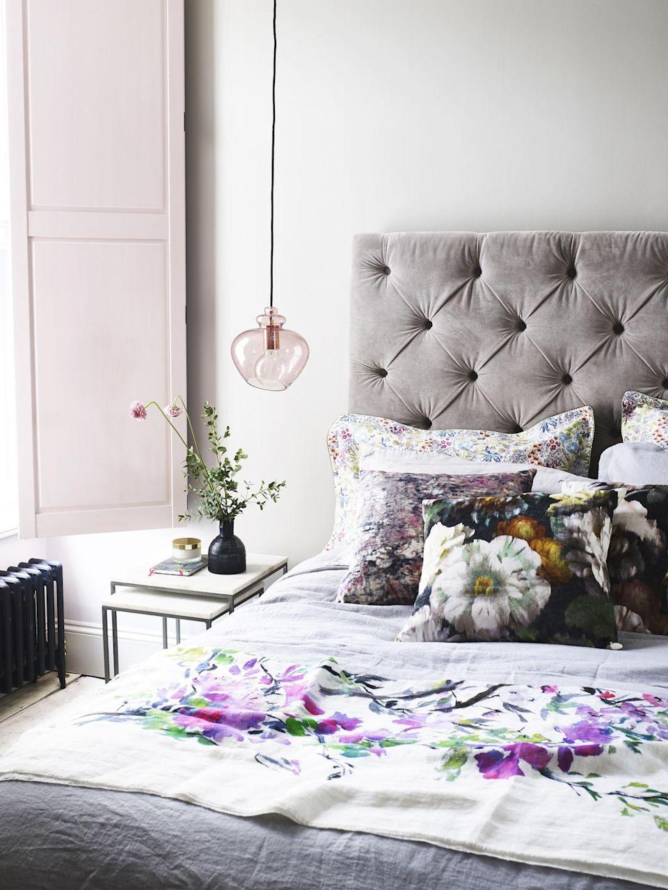 <p>When it comes to decorating your bedroom, or any room in your home for that matter, it pays to think outside the box. Pink solid panel wood shutters and a pink hued glass pendant lamp creates a real charm in this bedroom – sometimes it's the details that count.</p>