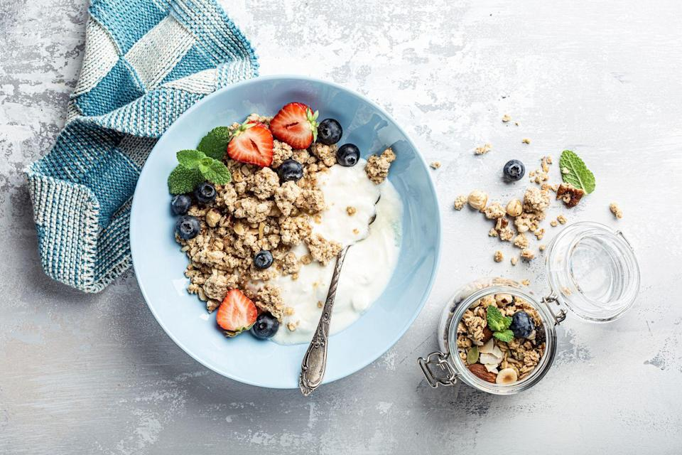 <p>Greek yogurt can taste a little too sour for some people. Peanut butter power can temper the tang (and pump up the protein).</p>