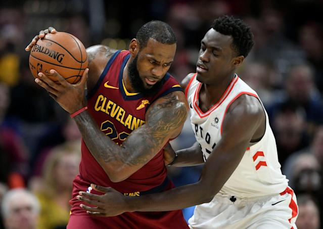 FILE PHOTO: Mar 21, 2018; Cleveland, OH, USA; Toronto Raptors forward Pascal Siakam (43) defends Cleveland Cavaliers forward LeBron James (23) in the first quarter at Quicken Loans Arena. Mandatory Credit: David Richard-USA TODAY Sports/File Photo