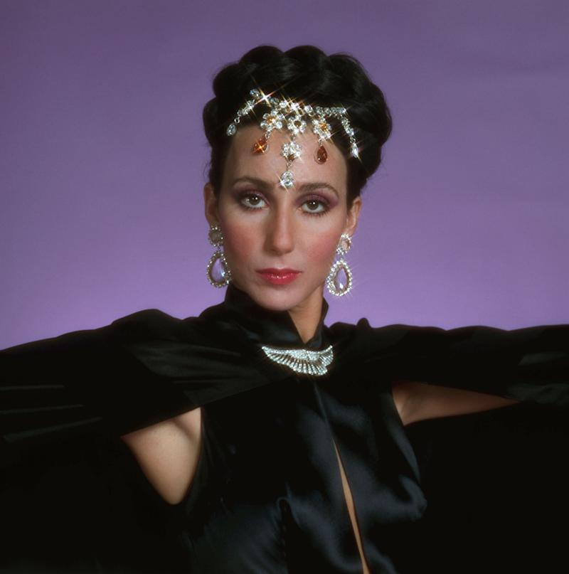 (Original Caption) 1975-New York, NY: Head and shoulder shot of Cher Bono, in costume and jewelry from 'The Sonny and Cher Comedy Hour.' Undated TV handout.