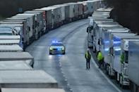 The ban on arrivals in France has led to long tailbacks of freight trucks in southern England