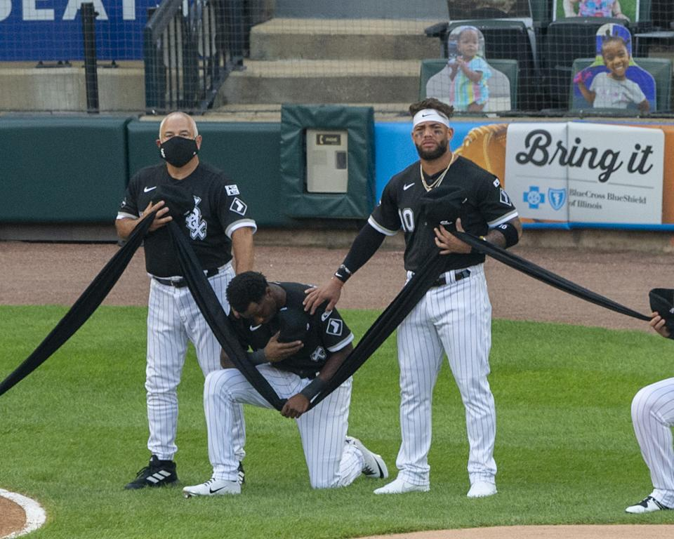 Tim Anderson was among the White Sox players to take a knee on opening day in 2020. (Photo by Ron Vesely/Getty Images)