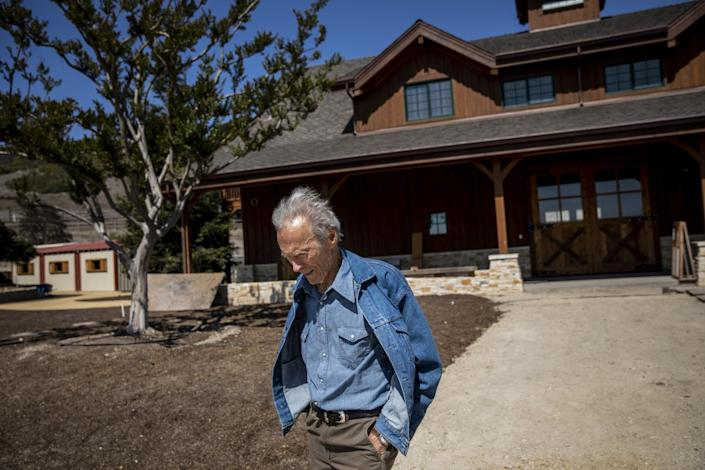 Clint Eastwood walking near the stables at his Tehama Golf Club in Carmel-by-the-Sea, Calif.