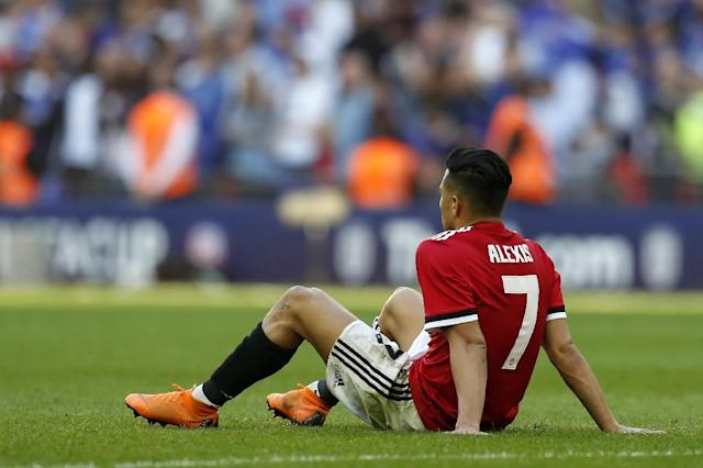 Alexis Sanchez after Manchester United lost to Chesea in the FA Cup final, (AFP Photo/Ian KINGTON)