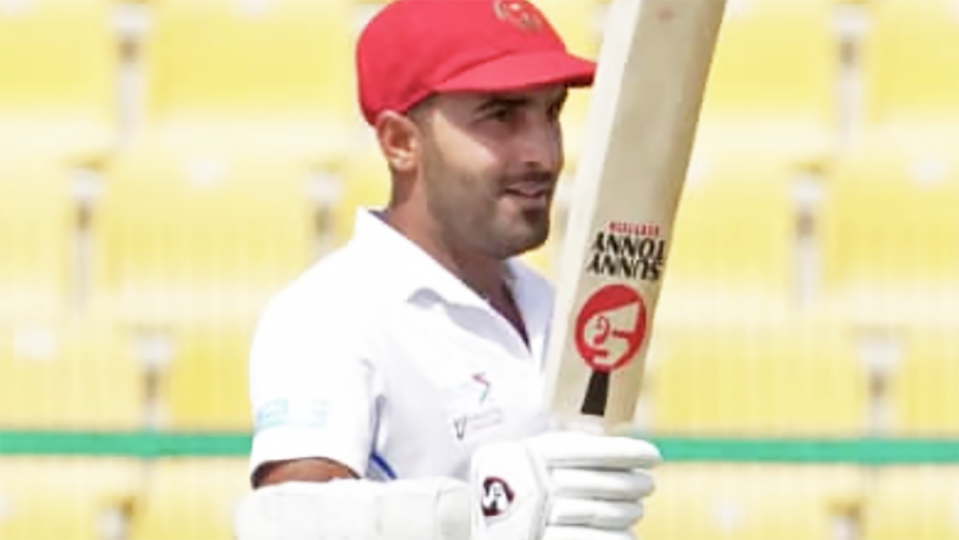 Hashmatullah Shahidi has claimed the record for the highest Test innings by an Afghanistan player, becoming the first batsman from the new Test nation to reach a double century with his stand of 200. Picture: ACB Media/Twitter
