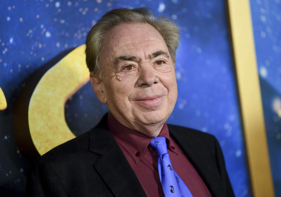 "FILE - This Dec. 16, 2019 file photo shows composer and executive producer Andrew Lloyd Webber attending the world premiere of ""Cats"" in New York. Webber is celebrating the 50th anniversary of the release of his ""Jesus Christ Superstar"" album with the first single from his latest musical — ""Cinderella."" The song is called ""Bad Cinderella"" and is sung by Carrie Hope Fletcher, who plays the title character in what is being billed as a ""complete reinvention of the classic fairytale."" (Photo by Evan Agostini/Invision/AP, File)"