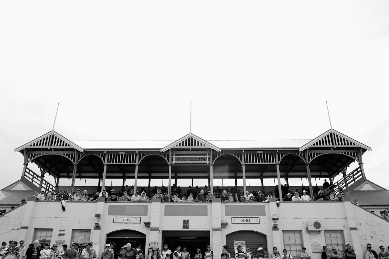 NOWRA, AUSTRALIA - SEPTEMBER 22: (EDITORS NOTE: Image has been converted to black and white.) A general view of the grand stand is seen during the Country Rugby League South Coast Group 7 Grand Final match between the Warilla Lake South Gorillas and the Gerringong Lions at Nowra Showgrounds on September 22, 2013 in Nowra, Australia. (Photo by Mark Kolbe/Getty Images)
