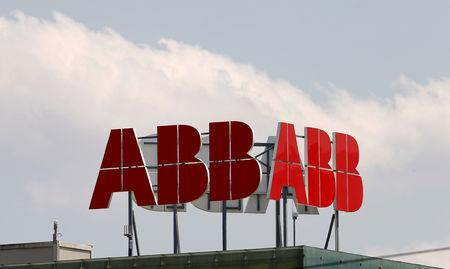 FILE PHOTO: The logo of Swiss engineering group ABB is seen on a roof of a plant in the town of Baden near Zurich, in this July 14, 2015 file photo.    REUTERS/Arnd Wiegmann/Files/File Photo