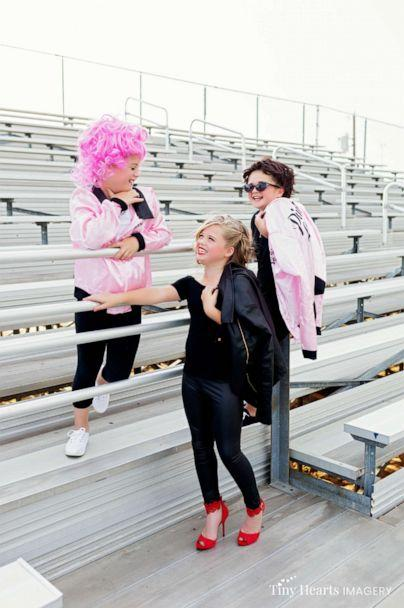 PHOTO: Landri Grabenstein, 7, and her sisters, twins Alli and Maddi Grabenstein, both 9, posed in a 50's-style photo shoot as they transformed into the women of the 1978 film, 'Grease.' (Tiny Hearts Imagery)