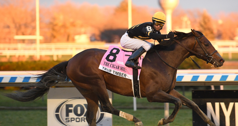 Jockey Kendrick Carmouche and True Timber won the Grade 1 Cigar Mile on Dec. 5 at Aqueduct. It was the first Grade 1 victory of Carmouche's career.