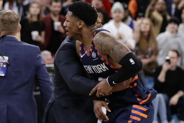 "<a class=""link rapid-noclick-resp"" href=""/nba/players/5321/"" data-ylk=""slk:Elfrid Payton"">Elfrid Payton</a> didn't take kindly to <a class=""link rapid-noclick-resp"" href=""/nba/players/5068/"" data-ylk=""slk:Jae Crowder"">Jae Crowder</a>'s 3-pointer at the end of a blowout loss. (AP Photo/Frank Franklin II)"