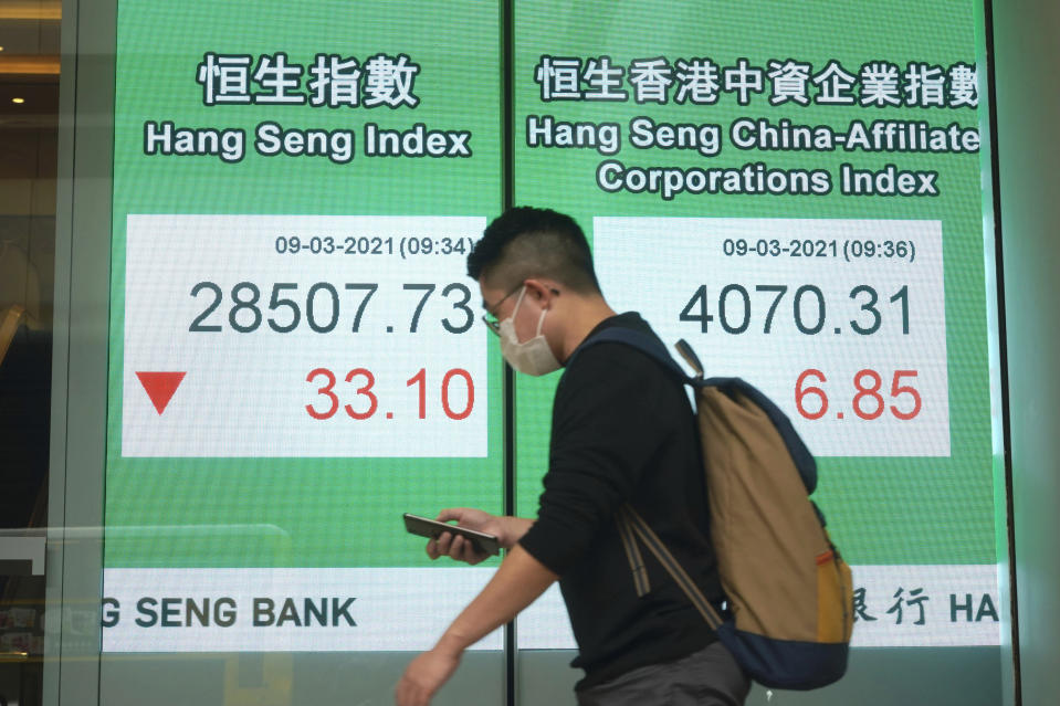 A man wearing a face mask to help curb the spread of the coronavirus walks past a bank's electronic board showing the Hong Kong share index in Hong Kong, Tuesday, March 9, 2021. Asian shares were mixed Tuesday, cheered by the imminent passage of the U.S. stimulus package, although that optimism was tempered by worries about inflation and the coronavirus pandemic. (AP Photo/Kin Cheung)