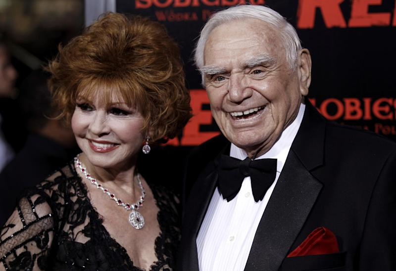 "FILE - In this Oct. 11, 2010, file photo, cast member Ernest Borgnine, right, and his wife, Tova, arrive at a special screening of the film ""Red"" in Los Angeles. A spokesman said Sunday, July 8, 2012, that Borgnine has died at the age of 95. (AP Photo/Matt Sayles, File)"