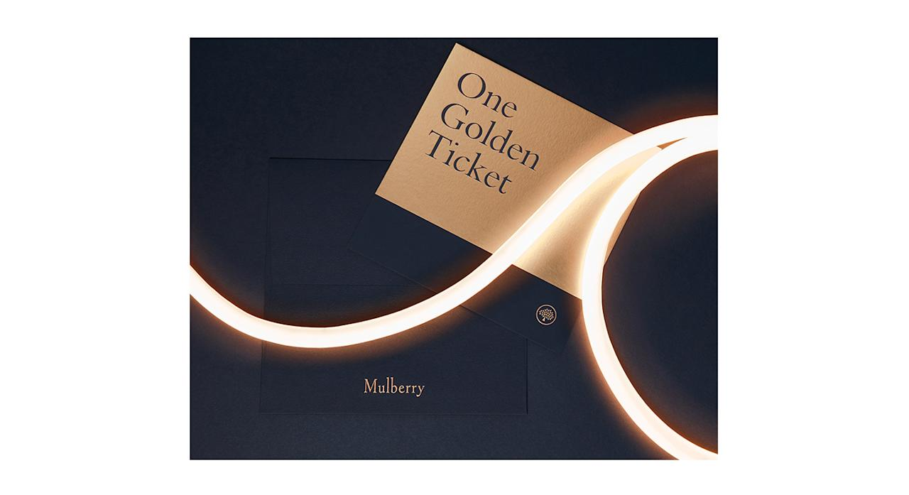 <p>From Black Friday until Cyber Monday, every Mulberry customer (who spends over £50) will be entered into a ballot.<br /><br />One lucky customer will be randomly selected and with their order will receive a special golden envelope inviting them to a shopping spree to the value of £2,500. <em>[Photo: Mulberry]</em> </p>