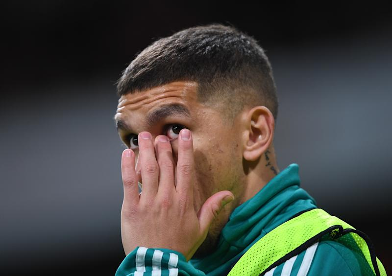 Lucas Torreira upset at the fans reaction to Granit Xhaka's substitution. (Photo by Stuart MacFarlane/Arsenal FC via Getty Images)