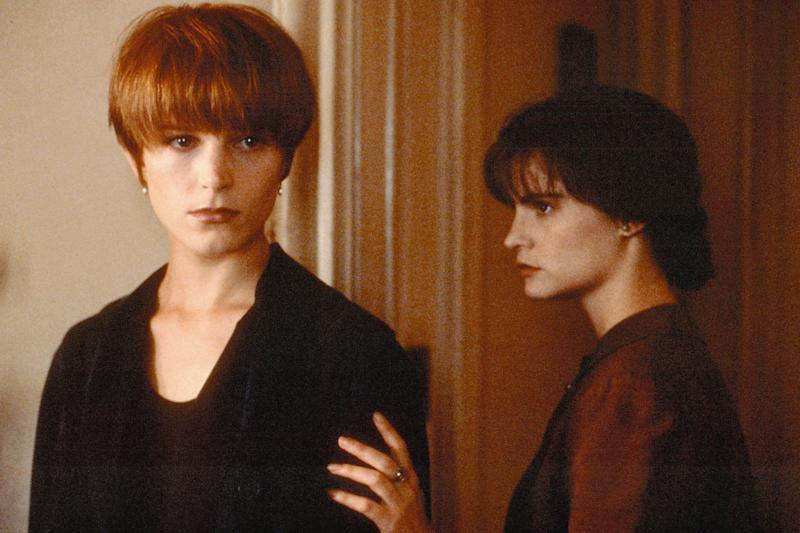 Takeover bid: Bridget Fonda, far left, and Jennifer Jason Leigh in the film Single White Female, 1992: Rex Features