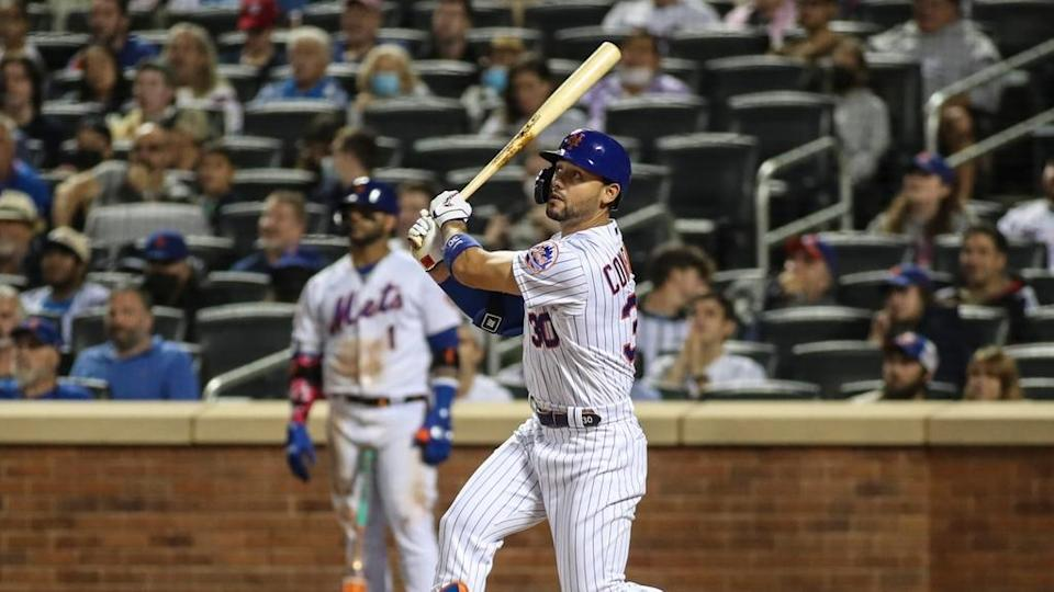 Michael Conforto admires home run after swing