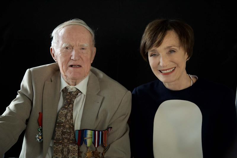 Kristin Scott Thomas met WW2 veteran David Caink, who served on board the same ship as her grandfather during D-Day (Credit: Channel 4/Wild Pictures)