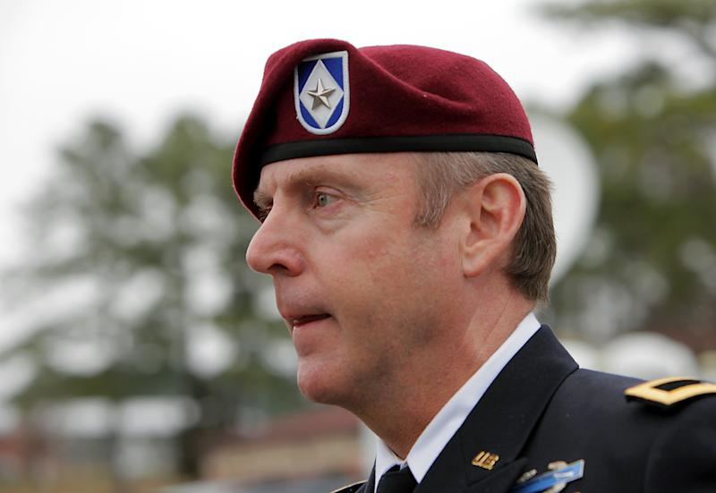 Brig. Gen. Jeffrey Sinclair, who admitted to inappropriate relationships with three subordinates, leaves the courthouse at Fort Bragg, N.C., Wednesday, March 19, 2014. A sentence was not reached. (AP Photo/Ted Richardson)