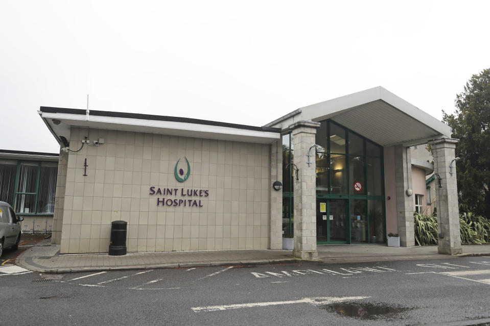 """A general view of St Luke's Hospital which has been affected by a ransomware attack, in Rathgar, Dublin, Saturday, May 15 2021. Ireland's health system is struggling to restore computers and treat patients four days after it shut down its entire information technology system in response to a ransomware attack. Authorities said hundreds of people were assigned to respond to the attack but it could be weeks before the public health service will return to normal. The chief clinical officer of Ireland's public health service said Tuesday, May 18 that the intrusion was having """"a profound impact on our ability to deliver care"""" and that disruptions would undoubtedly """"mount in the coming days and weeks."""" (Niall Carson/PA via AP)"""