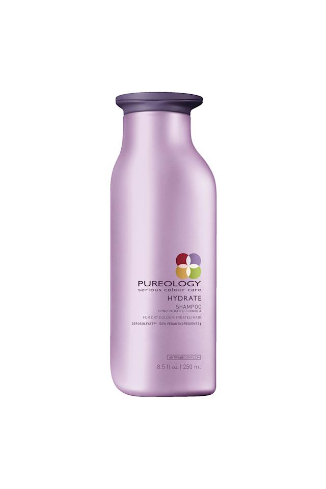"""<p><strong>Pureology </strong></p><p>ulta.com</p><p><strong>$57.80</strong></p><p><a href=""""https://go.redirectingat.com?id=74968X1596630&url=https%3A%2F%2Fwww.ulta.com%2Fhydrate-shampoo%3FproductId%3DxlsImpprod3410051&sref=http%3A%2F%2Fwww.elle.com%2Fbeauty%2Fhair%2Fg25056431%2Fbest-shampoo-for-dry-hair%2F"""" target=""""_blank"""">Shop Now</a></p><p>Gentle enough to not damage your color-treated strands, but strong enough to cleanse and hydrate medium to thick hair types, this shampoo is the ultimate in hydration and color protection. It's also packed with jojoba, green tea, and sage to fight breakage and previous hair damage. <br></p>"""