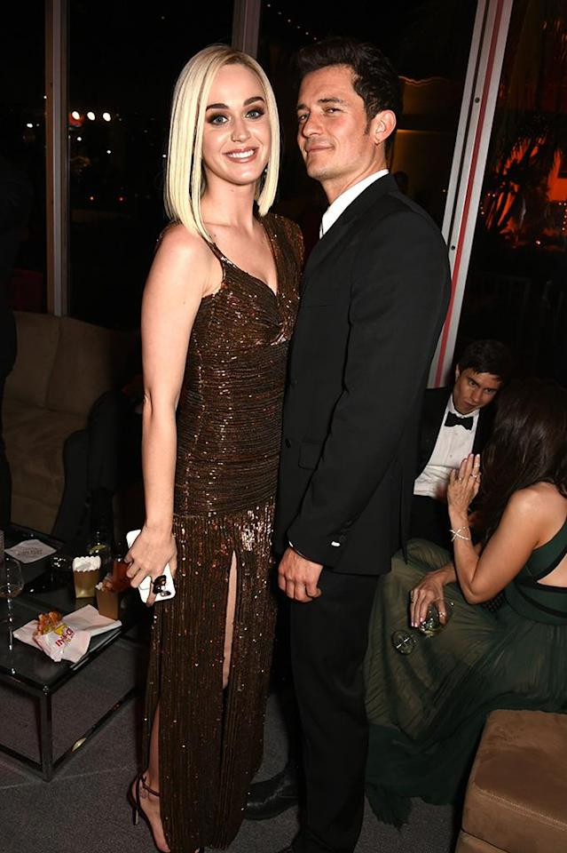 """<p>These two know a little something about on-again, off-again romance. The pair's reps announced in February that the two were taking """"<a href=""""https://www.yahoo.com/entertainment/orlando-bloom-katy-perry-cozy-222300548.html"""" data-ylk=""""slk:respectful, loving space;outcm:mb_qualified_link;_E:mb_qualified_link"""" class=""""link rapid-noclick-resp"""">respectful, loving space</a>"""" but that didn't last too long. They were spotted hanging out post-split on various occasions, but never looked to get too serious again, as Perry embarked on a world tour. (Photo: Dave M. Benett/VF17/WireImage) </p>"""
