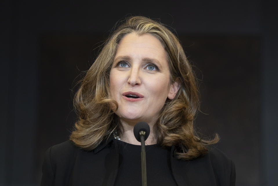 Canada's Deputy Prime Minister and Finance Minister Chrystia Freeland speaks during a news conference on Parliament hill in Ottawa, Tuesday, Aug. 18, 2020. (Adrian Wyld/The Canadian Press via AP)