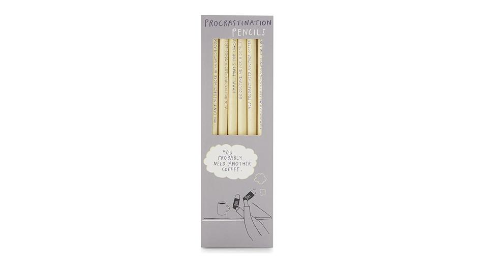 """<p><em><a rel=""""nofollow noopener"""" href=""""https://www.theliterarygiftcompany.com/products/procrastination-pencils"""" target=""""_blank"""" data-ylk=""""slk:The Literary Gift Company"""" class=""""link rapid-noclick-resp"""">The Literary Gift Company</a>, £5</em> </p>"""