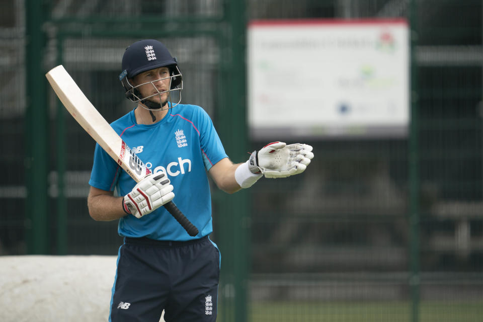 England's Joe Root prepares to bat during a nets session before the 5th Test cricket match between England and India at Old Trafford cricket ground in Manchester, England, Thursday, Sept. 9, 2021. (AP Photo/Jon Super)