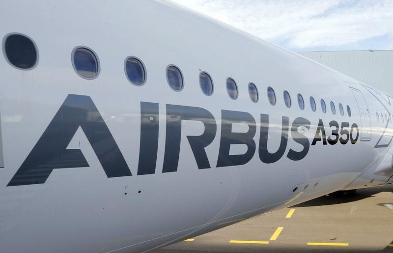 A section of an Airbus A350 is pictured at Airbus headquarters in Toulouse